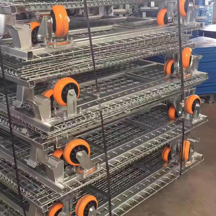 物流周转快递分拣金属可移动式仓储笼 不锈钢带轮周转箱  强宇仓库笼厂家