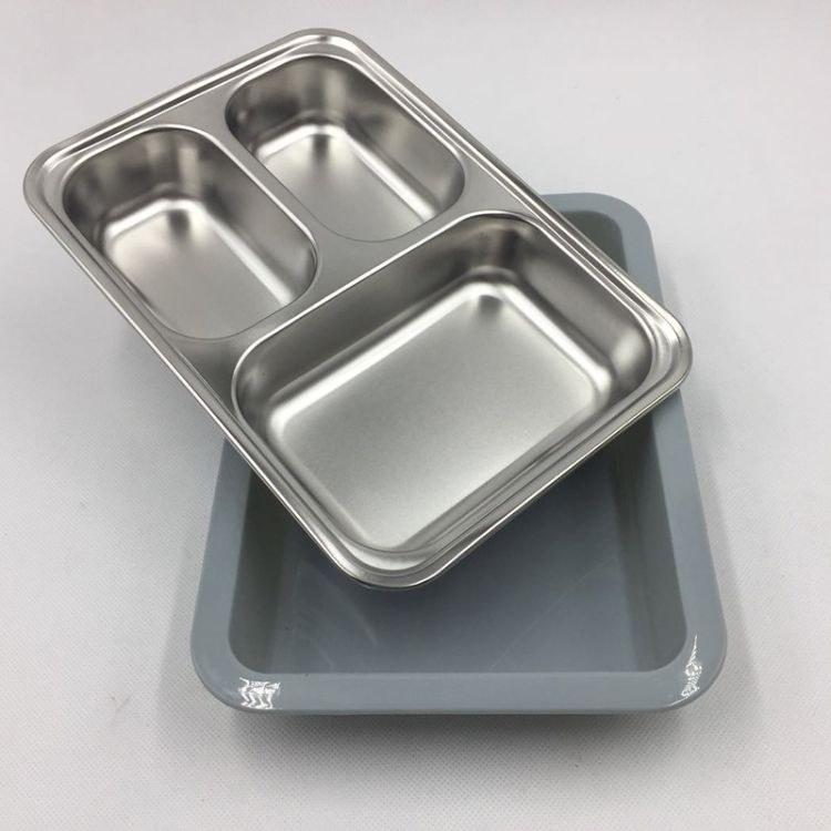 易帮客加厚不锈钢圆盘 烧烤盘 深盘浅盘菜盘 加深菜盘  不锈钢分格餐盘