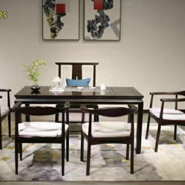 新中式黑檀实木茶桌椅组合简约现代茶台茶几办公室原木喝茶功夫泡茶桌