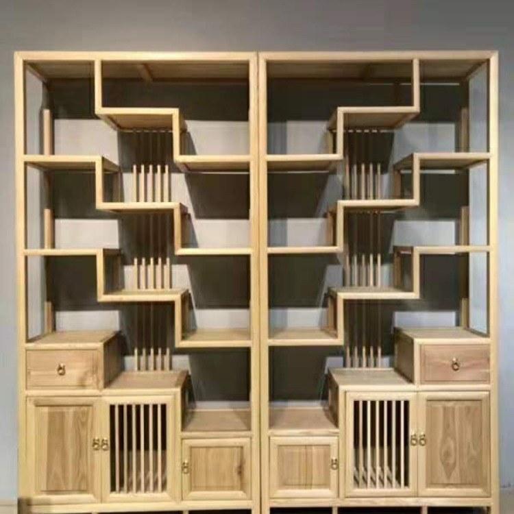 博古架实木中式白蜡木古董架多宝阁仿古家具茶叶茶室展示柜置物架