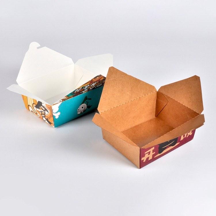 生产厂家一次性牛皮纸餐盒打包餐盒可定制便当外卖定做长方形快餐饭盒 意点森昂