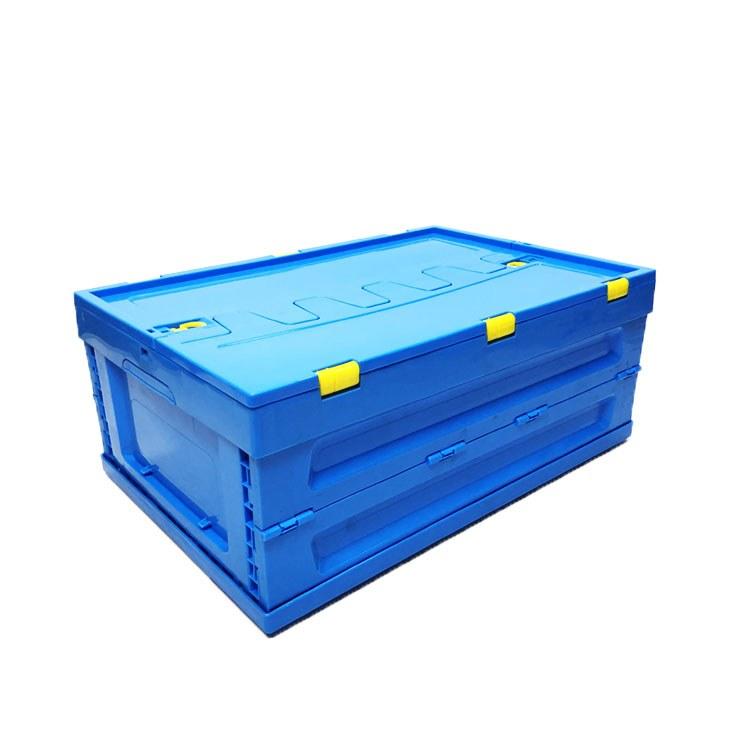 工厂直销可带盖子折叠塑料周转箱加厚物流箱子大号塑料胶框消毒餐具箱生鲜物流箱