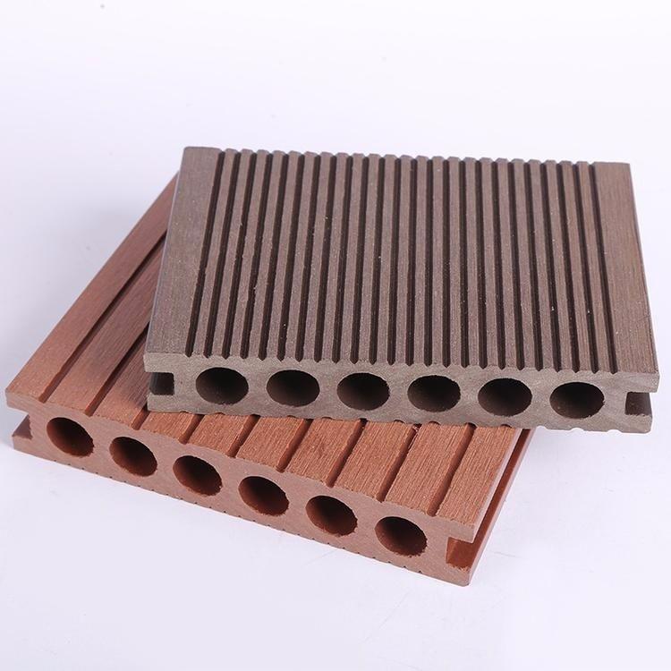 防腐露天防滑园林景观型材 新140*25圆孔户外耐用塑木地板 木塑地板厂家直销