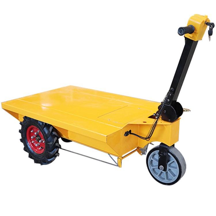 工地电动平板车 轻便电动小推车 三开门电动手推车