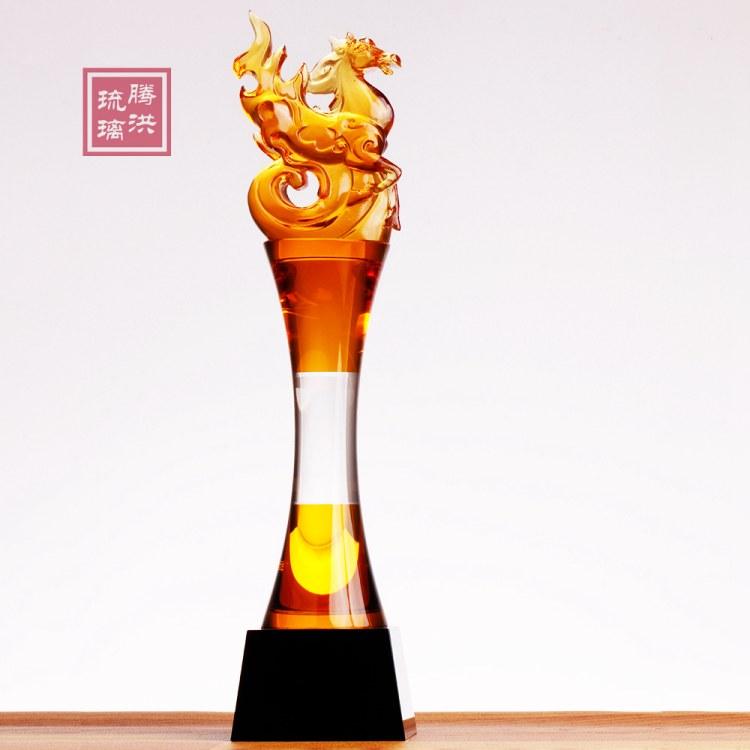 上海琉璃奖杯刻字现货 上海优秀职员奖杯 公司年会表彰奖品批发价格