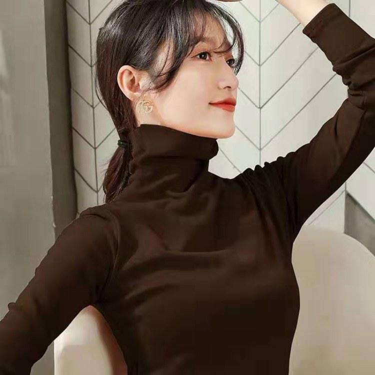 2019便宜打底衫加厚内搭黑色长袖t恤女装秋冬半高领紧身洋气纯棉加绒上衣