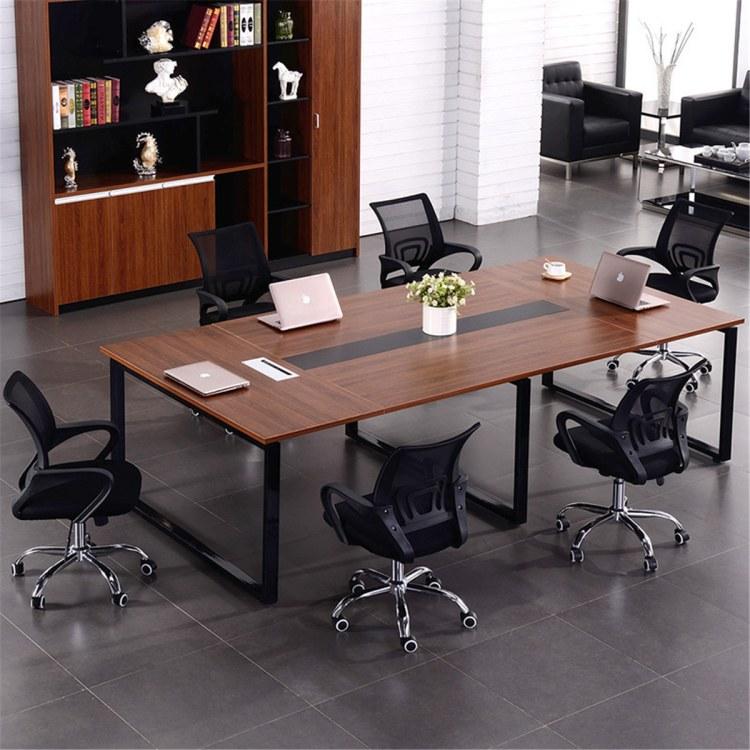 板式会议长桌定制 办公家具员工会议桌简约现代洽谈长桌长方形职员办公桌长条桌