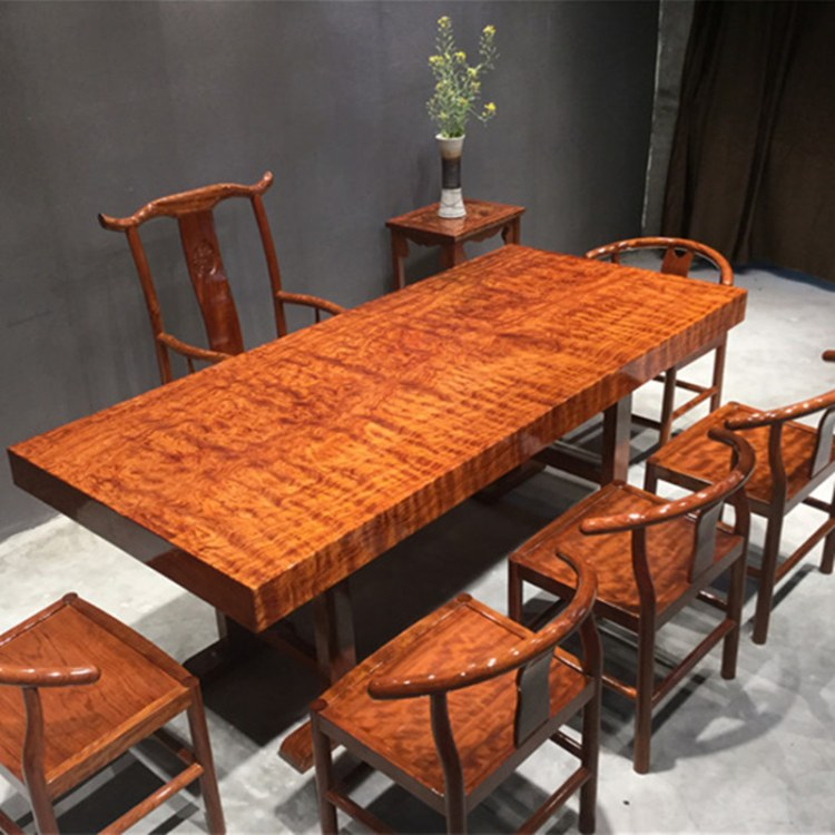 巴西花梨大板红木实木整板餐桌茶桌水波纹茶台会议办公茶板大班台