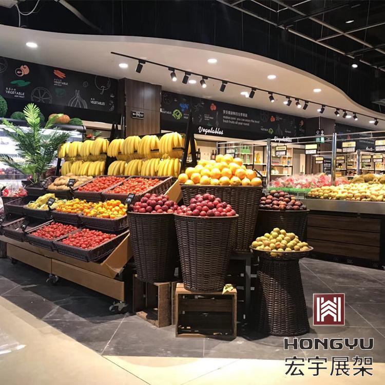超市货架生产厂家 宏宇水果蔬菜货架厂家直供 让顾客始终有一种视觉上的新鲜感