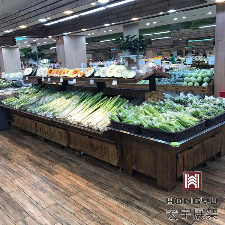 超市货架厂家 宏宇果蔬保鲜柜供应厂家 色彩搭配既能清晰区分又能和谐一致