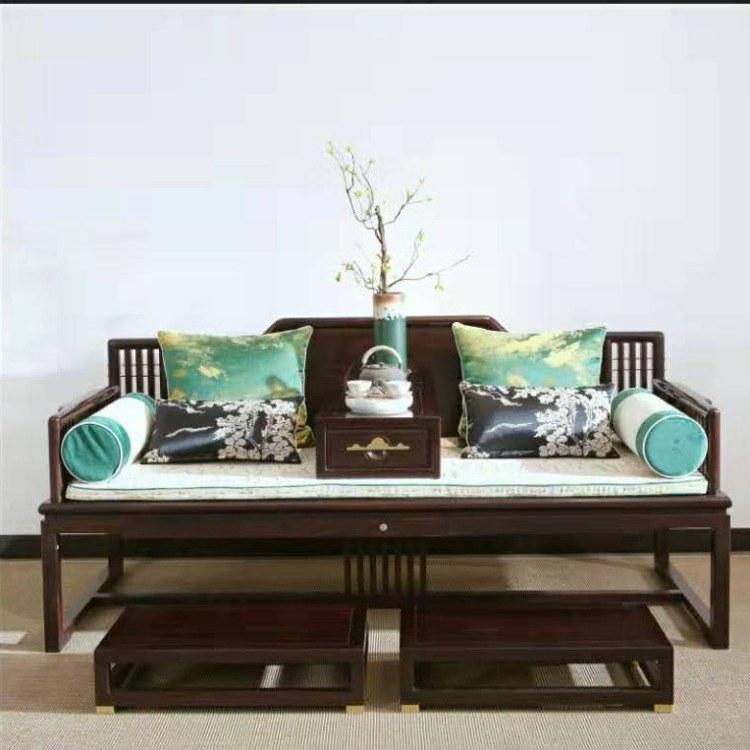 实木黑檀罗汉床 新中式风格 家具酒店民宿 仿古禅意床现代中式