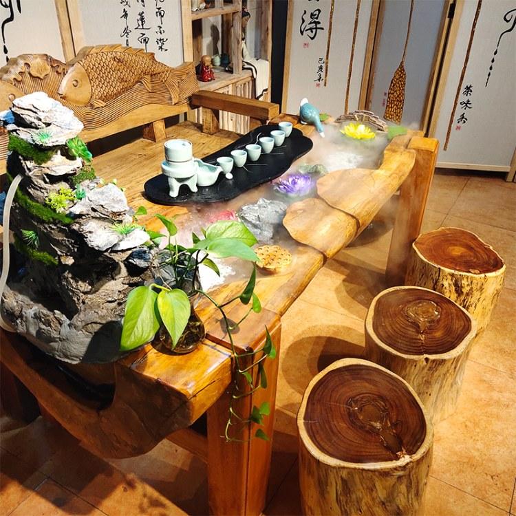 中式简约客厅实木流水茶桌功夫茶几泡茶桌椅组合养鱼茶台禅意景观
