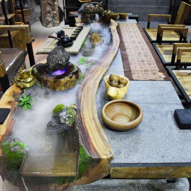 禅意功夫养鱼流水茶台景观创意循环流水茶桌新中式实木泡茶桌椅组合茶艺桌