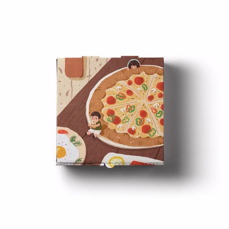 盒小美一次性瓦楞披萨盒比萨包装盒匹萨pizza外卖打包盒厂家1万只起订