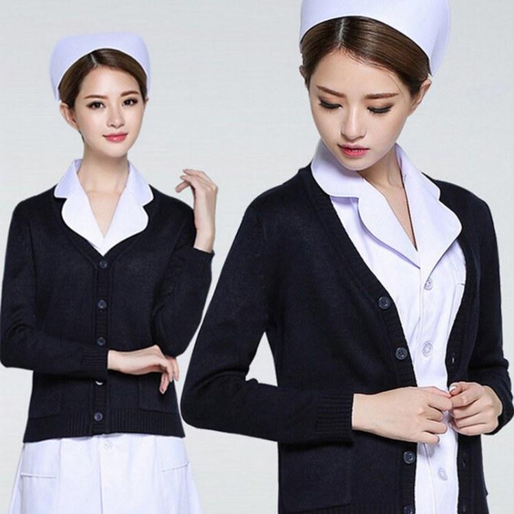 南丁格尔开衫外套藏蓝V领医生服外套 针织保暖衣 护士毛衣