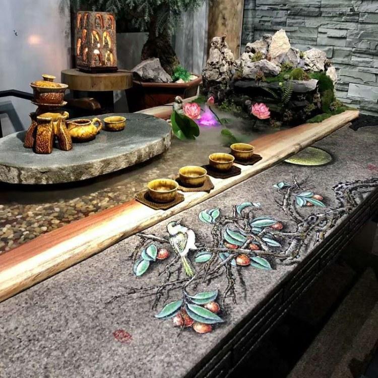 曲水流觴茶臺流水養魚循環茶桌香樟木中式大型原生態茶幾組合家具