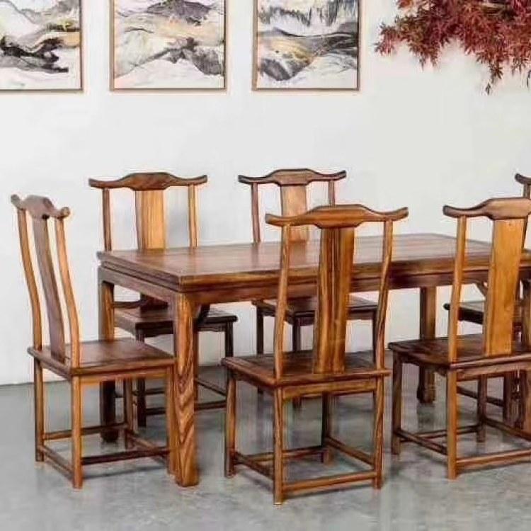 南美胡桃木新中式实木餐桌七件套