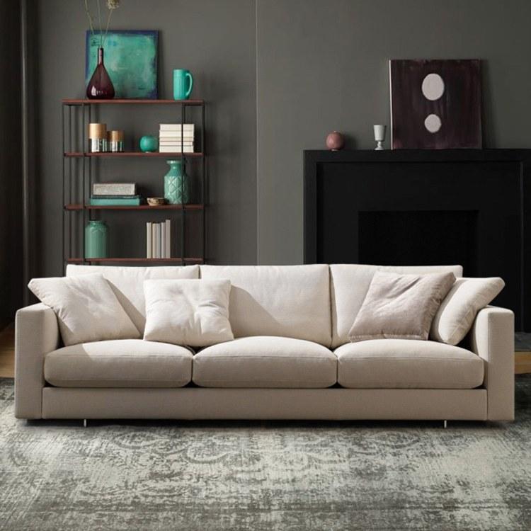 北欧布艺乳胶沙发 三人小户型客厅整装现代简约实木羽绒沙发可拆洗沙发公司批发定制产品多少钱