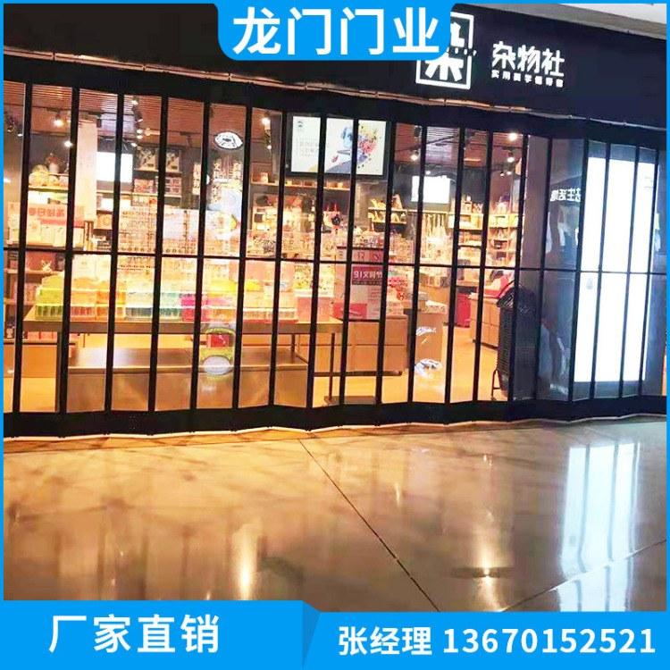 深圳不锈钢水晶折叠门 横向水晶门 防盗优质折叠门专业订购 龙门门业价格优惠
