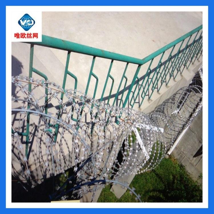 不锈钢刀片刺绳刀片刺网配套专用圆管不锈钢支架304材质唯欧丝网
