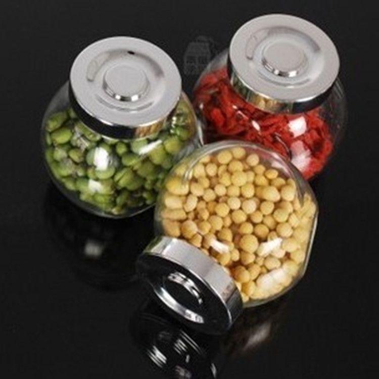 180ML家庭厨房收纳罐蜂蜜糖果密封罐调料扁鼓储物玻璃瓶