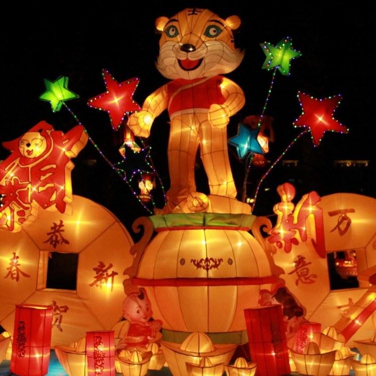 江山月厂家专业定制创意造型彩灯大型花灯展 发光福字中国结气氛装饰