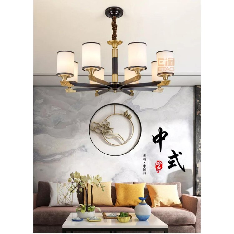 新中式系列灯饰别墅客厅吸顶灯新品推荐   铜材质吸顶灯找顺爱装饰