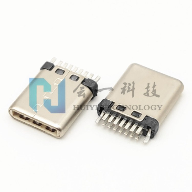 USB2.0 TYPE-C 14P公头 夹板式 不带板 铆压/冲压壳/拉伸 超薄/短体 双排7PIN