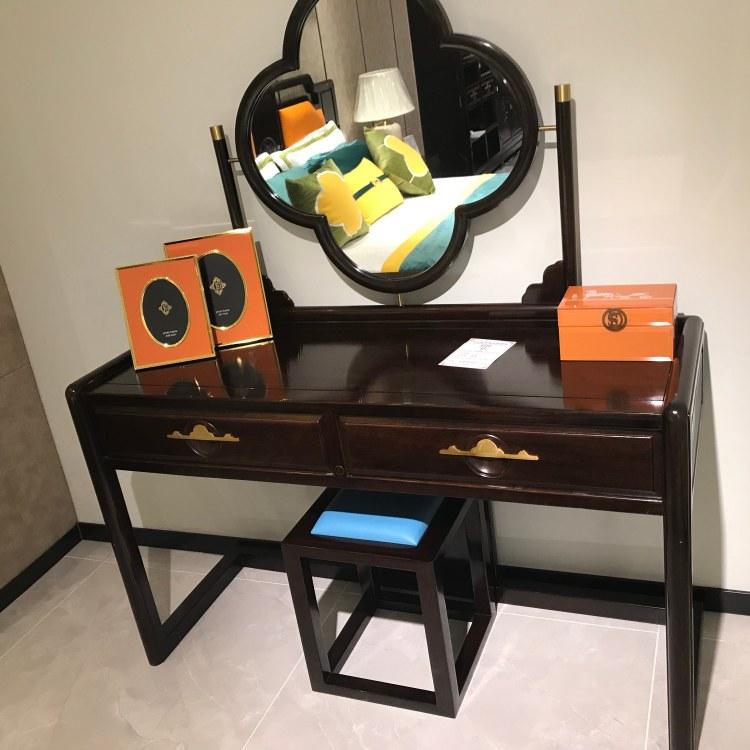 厦门高档新中式家具轻奢黑紫檀赏梅化妆桌