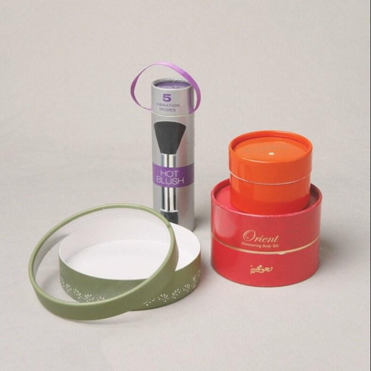 化妆品粉刷包装纸筒  创意唇膏口彩色纸罐  牛皮纸礼品圆筒  花茶纸罐