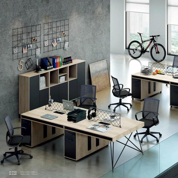 碧江家具员工办公桌组合4人位工业风简约现代办公室职员桌屏风办公桌