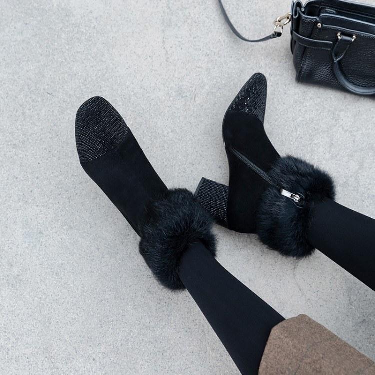 2019新款女靴羊反绒烫钻毛毛短靴磨砂圆头粗跟时尚百搭女短靴