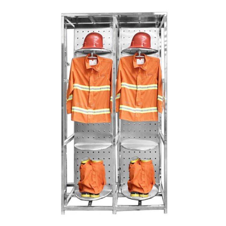 不锈钢消防战斗服架 消防专用双面旋转救援服架 消防员衣帽架 迪泰
