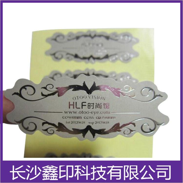 长沙烫银不干胶标签鑫印价格优惠性价比高规格齐全烫银不干胶透明标签