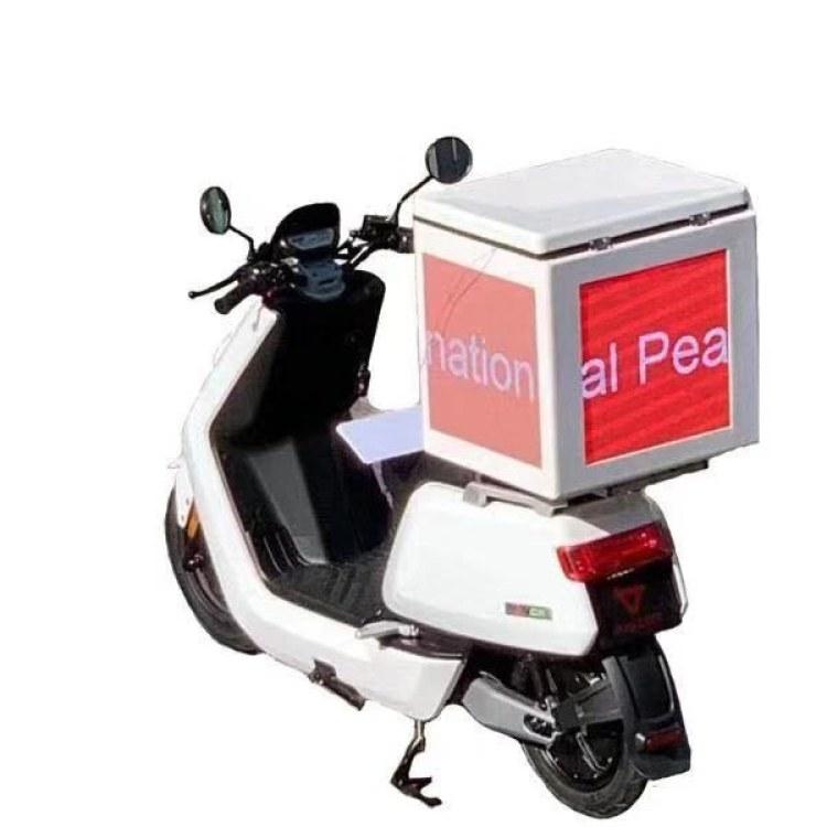 外卖箱户外led显示屏,移动摩托车外卖箱广告led屏 户外防水屏