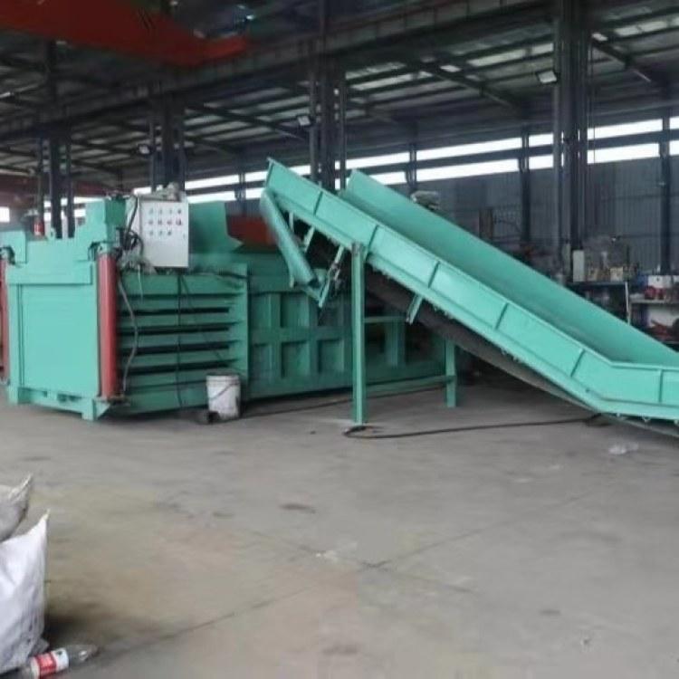 山东  批发  加工卧式半自动硬纸箱打包机厂家 供可回收垃圾液压打包机编织袋