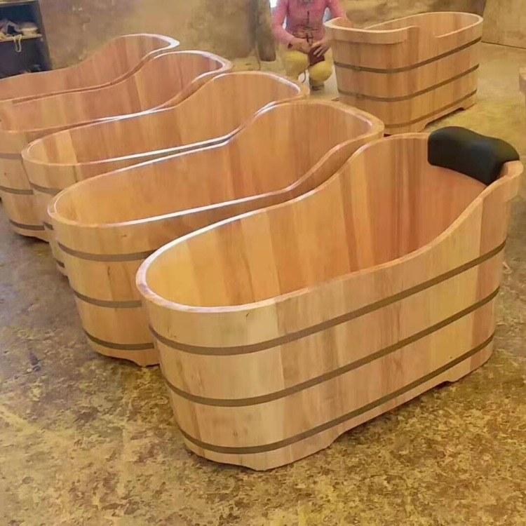 豪匠定制 洗澡桶 泡澡桶 成人桑拿熏蒸木质浴缸盆 实木泡澡木桶厂家批发直销