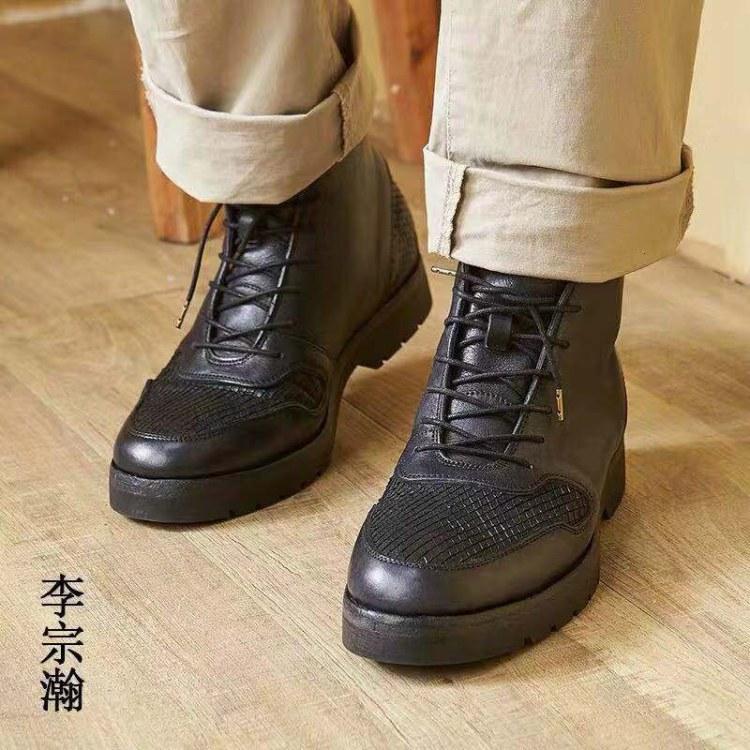 手工男鞋 高帮工装马丁靴