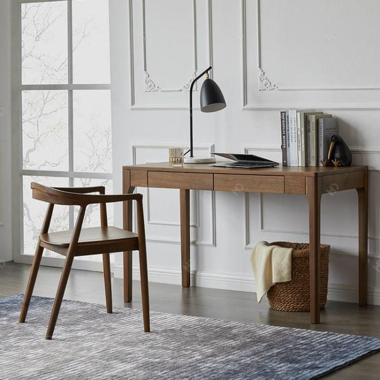 可定制新中式家具 北美黑胡桃随心书桌 办公桌 简约现代风