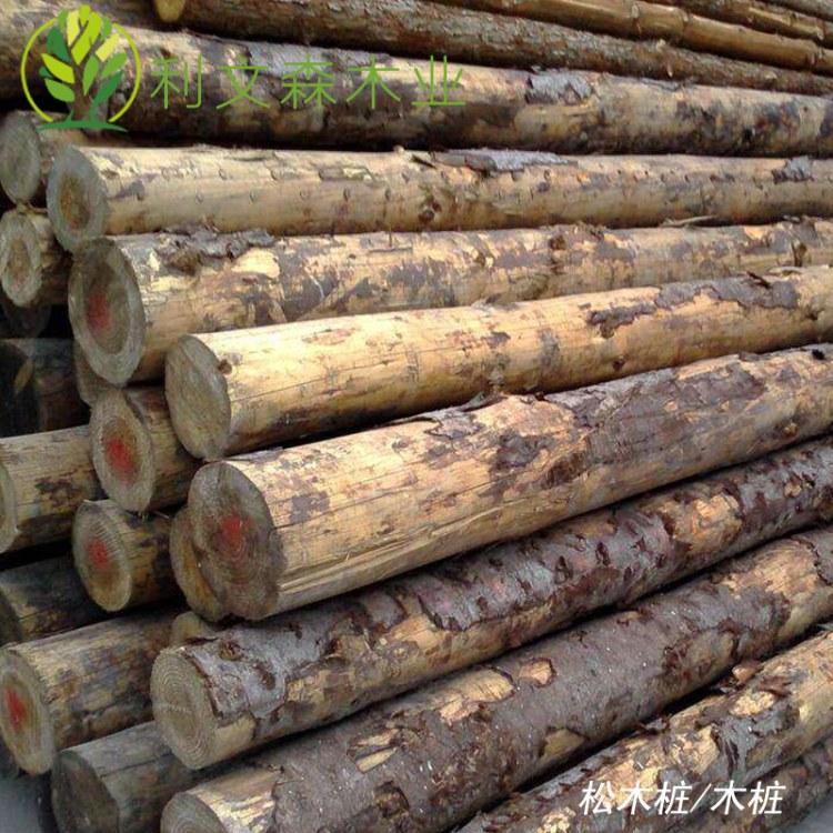佛山松木桩厂家直销 枞桩 圆木桩 可削尖 河堤围栏淤泥工地用