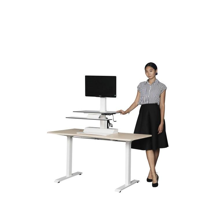 印方德柯 桌上桌 电动升降转换台 站坐交替 带显示器抓臂 收纳键盘 康贝特板