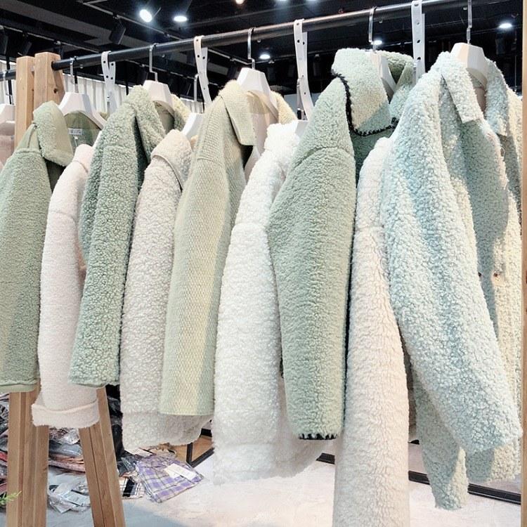 艾米19年冬季休闲颗粒绒大衣品牌折扣女装货源批发