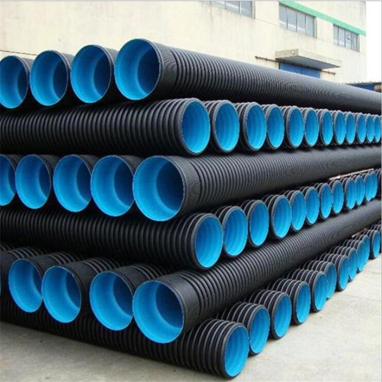 hdpe双壁波纹管 打孔波纹管 塑料钢带缠绕管300 碳素管厂家