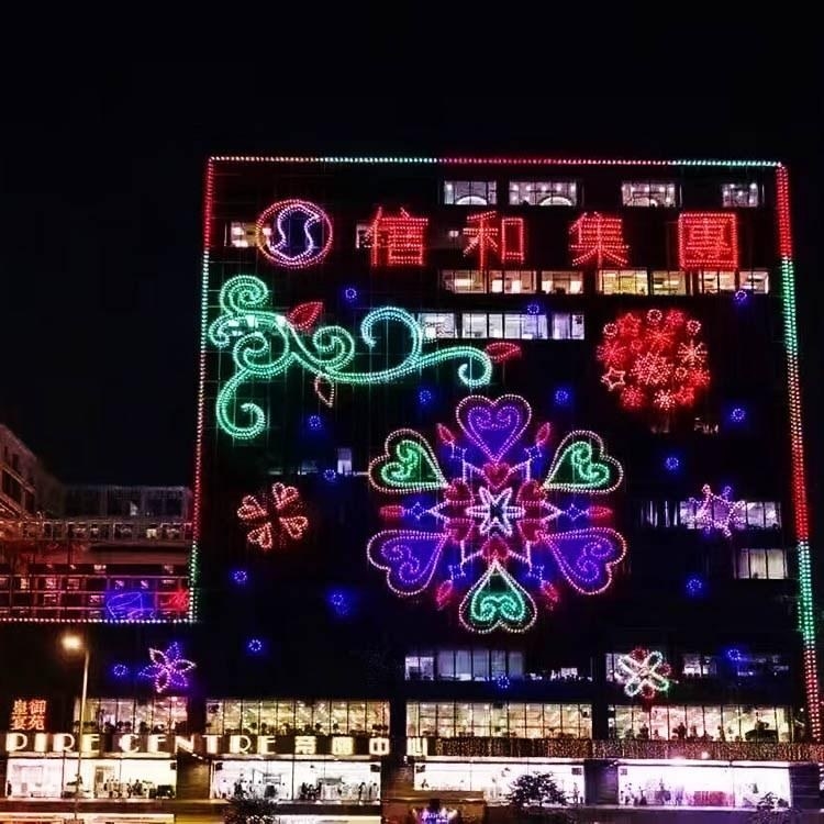 自贡江山月定制设计户外防水幕墙灯饰画灯光节造型城市夜画灯光亮化工程