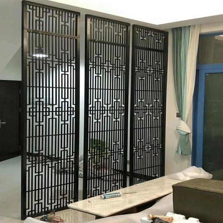 不锈钢屏风 聚美  客厅玄关遮挡 办公室新中式黑色竖条花格 屏风定做