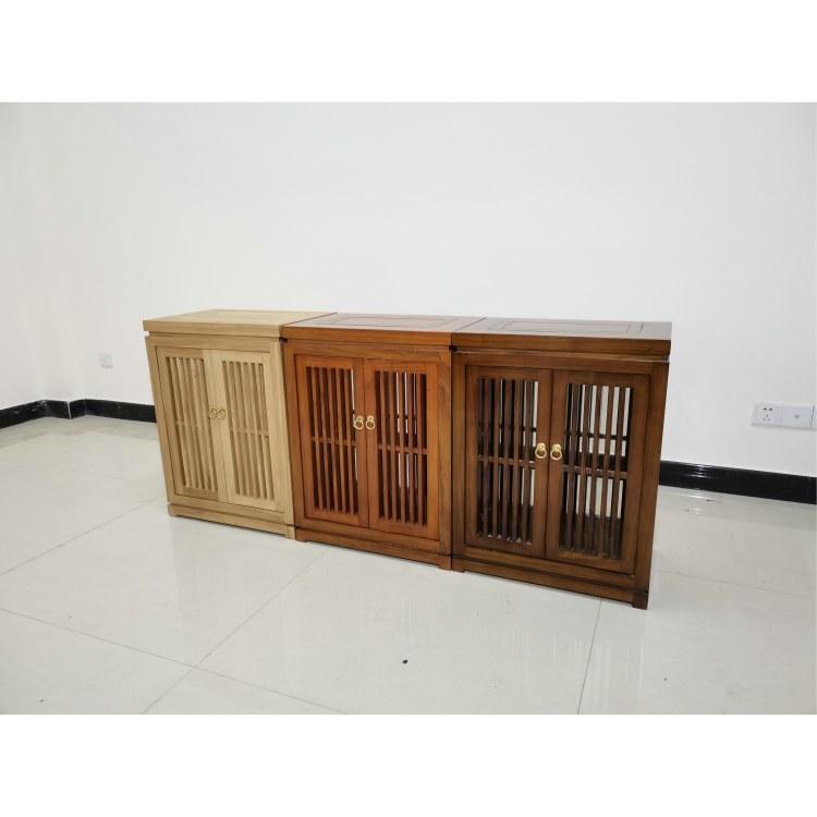 中式榆木免漆茶水柜 仿古实木茶水柜