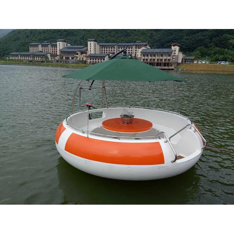 佳灵 公园电动烧烤船 休闲玻璃钢游船 观光电动船 6-8人烧烤船