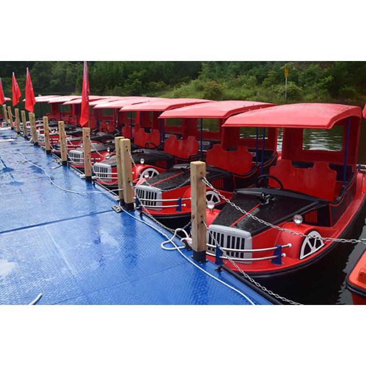 佳灵厂家定制 水上老爷车 水上游玩设备 玻璃钢电动船