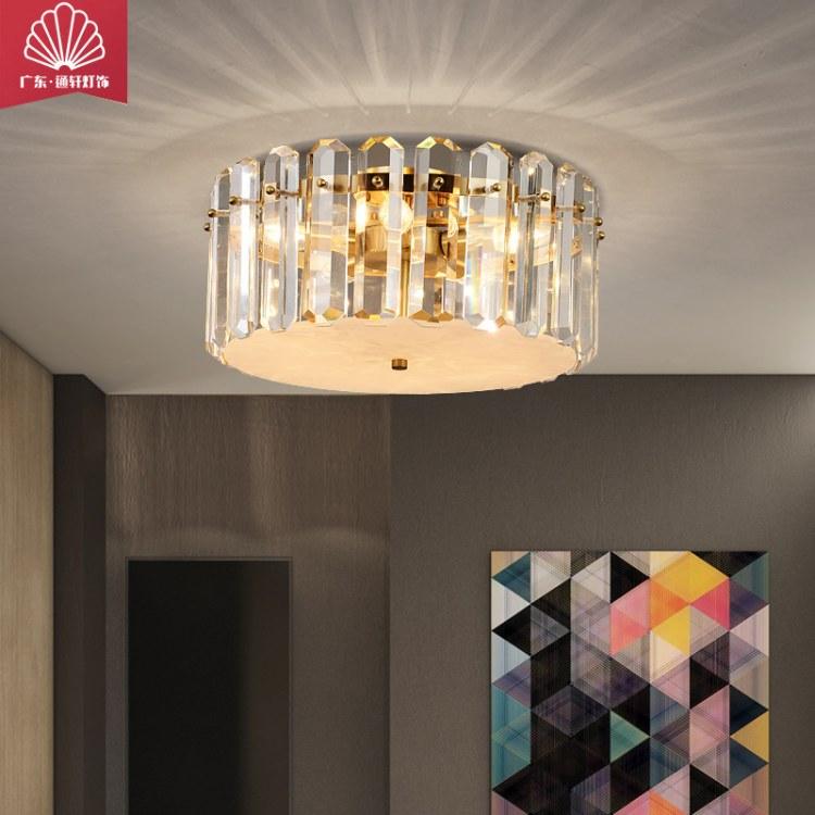 品牌通轩厂家直销全铜水晶吸顶灯具卧室样板房圆形后现代设计师轻奢书房照明灯具