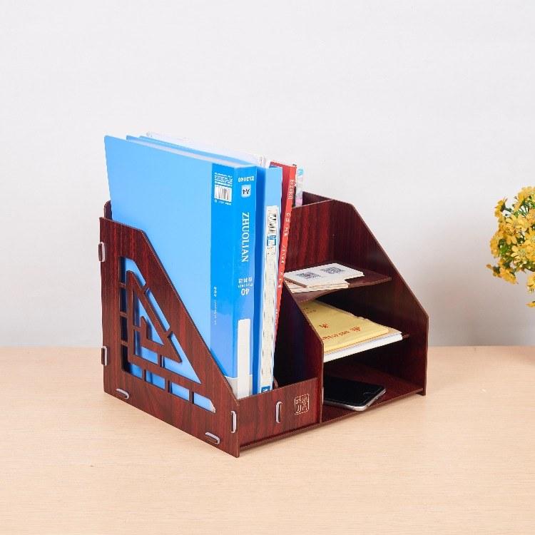 青叶山创意办公文件夹收纳盒木质桌面资料档案整理架书桌置物架文具收纳神器可各种定制